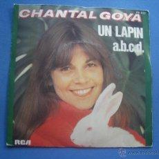 Discos de vinilo: CHANTAL GOYA - UN LAPIN / A.B.C.D. - RCA-VICTOR PB 8127 - 1977 - EDICIÓN FRANCESA SINGLE COMO NUEVO¡. Lote 53114343