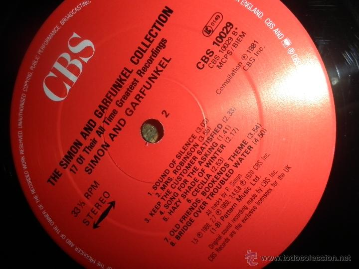 Discos de vinilo: THE SIMON AND GARFUNKEL COLLECTION LP - ORIGINAL INGLES - CBS RECORDS 1981 - MUY NUEVO (5). - Foto 14 - 53135087