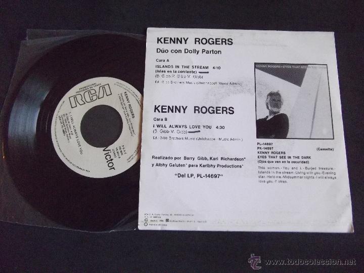 Discos de vinilo: KENNY ROGERS-DISCO SINGLE-SG2-ISLAND IN THE STREAM-I WILL ALWAYS LOVE YOU-1983-PROMOCIONAL - Foto 2 - 53148917
