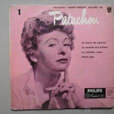 Discos de vinilo: PATACHOU.LE PIANO DU PAUVRE. LE SAMEDI SOIR A PARIS.EP. 1ª EDICIÓN. PHILLIPS. 432.007 NE.. Lote 53172763
