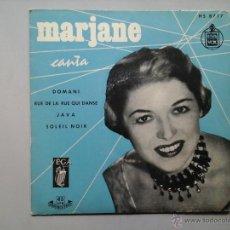 Discos de vinilo: MARJANE CANTA. DOMANI MONSIER. RUE DE LA RUE QUI DANSE. JAVA. SOLEIL NOIR. EP. 1ª ED. HISPAVOX.. Lote 53172852