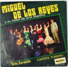 Discos de vinilo: SINGLE MIGUEL DE LOS REYES Y SU BALLET DE ARTE ESPAÑOL - NIÑA CARACOLA / CAPOTE TORERO. Lote 53174295