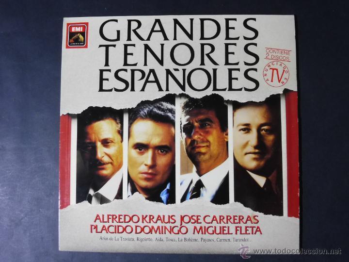 DISCO VINILO GRANDES TENORES ESPAÑOLES DOS DISCOS EMI LA VOZ DE SU AMO 1989 DCL050 (Música - Discos - Singles Vinilo - Clásica, Ópera, Zarzuela y Marchas)