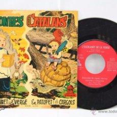 Discos de vinilo: DISCO SINGLE VINILO - CONTES CATALANS. L'ESCOLANTE DE LA VERGE / EN PATUFET... - ODEON, AÑO 1958. Lote 53231287
