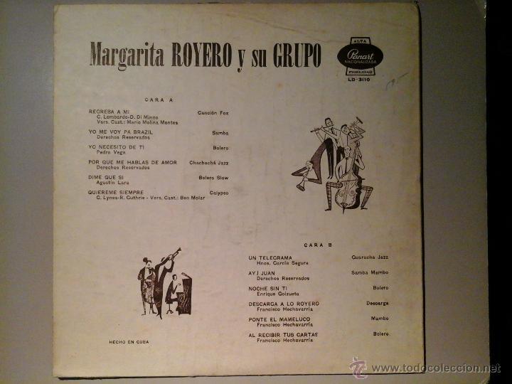 Discos de vinilo: MARGARITA ROYERO Y SU GRUPO.LP PANART LD-3110. 1ªED (CA.1963). RARO PRENSAJE CUBANO.JAZZ- BEAT- POP. - Foto 2 - 53241610