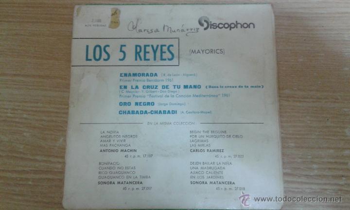 Discos de vinilo: LOS 5 REYES - ENAMORADA - EN LA CRUZ DE TU MANO + 2 - EP SPAIN 1961 - EX / EX - Foto 2 - 53271564