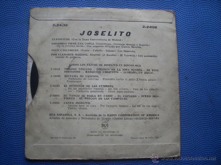 Discos de vinilo: JOSELITO CLAVELITOS + 3 EP SPAIN 1959 PDELUXE - Foto 2 - 53303787