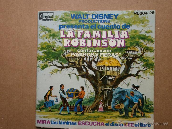 LA FAMILIA ROBINSON - HISPAVOX - WALT DISNEY - 1976 - CUENTO PARA LEER Y ESCUCHAR (Música - Discos - Singles Vinilo - Música Infantil)