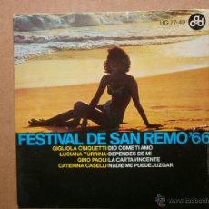 Discos de vinilo: FESTIVAL DE SAN REMO´66-DIO COME TI AMO -1966. Lote 53340582