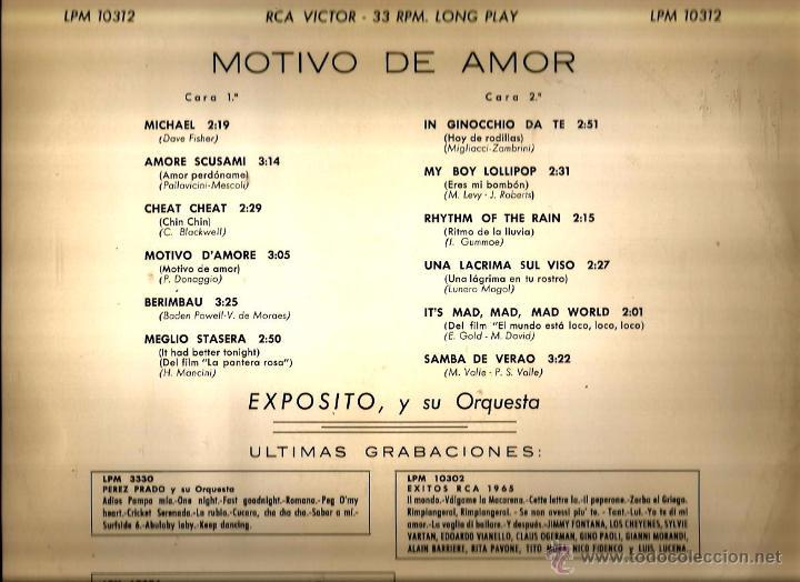 Discos de vinilo: LP EXPOSITO Y SU ORQUESTA : MOTIVO DE AMOR ( TEMAS DE BADEN POWELL, CHRIS BLAKWELL, HENRY MANCINI... - Foto 2 - 53341492