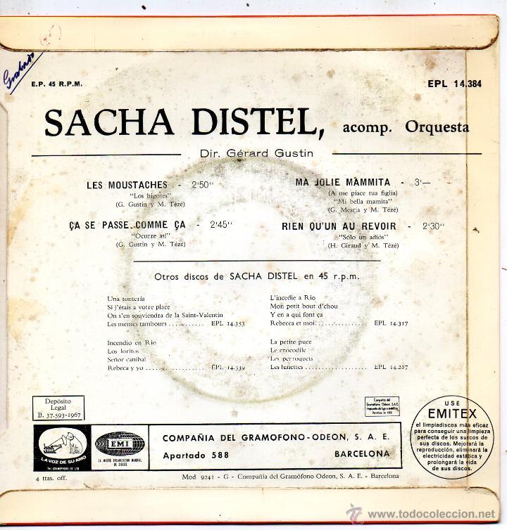 Discos de vinilo: SACHA DISTEL, EP, LES MOUSTACHES + 3, AÑO 1967 - Foto 2 - 53353479