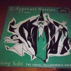 Discos de vinilo: EPS L'APPRENTI SORCIER, DUKAS, GEORG SOLTI. ORQUESTA FILARMONIA DE ISRAEL. EDICION DECCA 1958. RARA. Lote 53358008