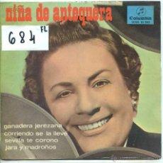 Discos de vinilo: NIÑA DE ANTEQUERA / GANADERA JEREZANA + 3 (EP PROMO 1966). Lote 53501347