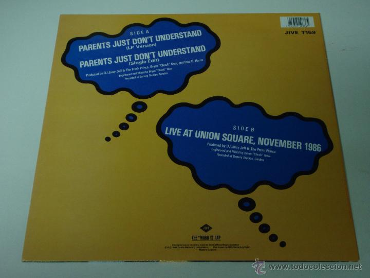 Discos de vinilo: DJ JAZZY JEFF & THE FRESH PRINCE ( PARENTS JUST DONT UNDERSTAND 2 VERSIONES - LIVE AT UNION SQU - Foto 2 - 53531312