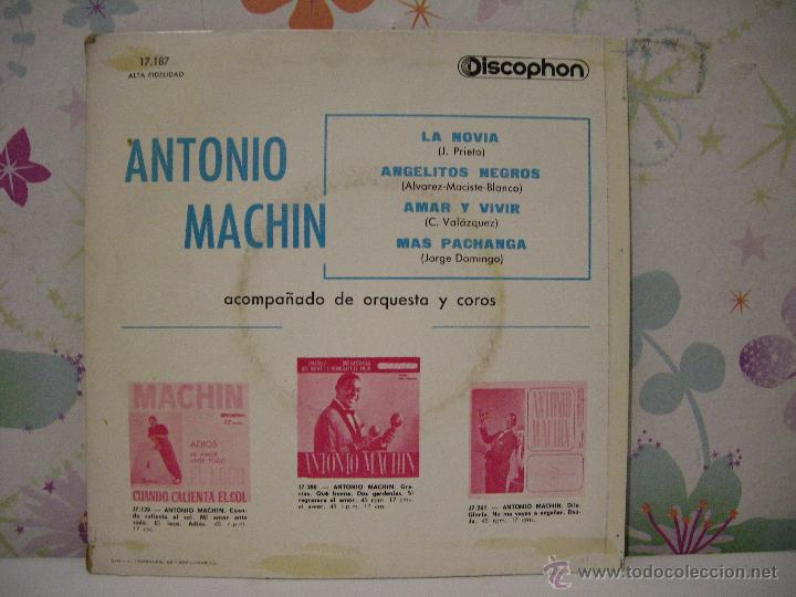 Discos de vinilo: ANTONIO MACHÍN ** La novia, Angelitos negros, Amar y vivir, Más pachanga ** AÑO 1961 - Foto 2 - 64768635