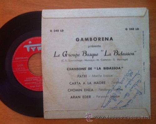 Discos de vinilo: CHANSONS BASQUES DE LA BIDASSOA - GAMBORENA - LE GROUPE BASQUE LA BIDASSOA - CHOMIN ENEA, ARAN EDER - Foto 2 - 53580872