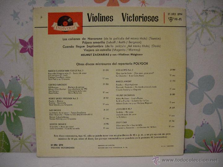 Discos de vinilo: VIOLINES VICTORIOSOS ** Los cañones de Navarone + Viajero sin estrella, .. ** SINGLE POLYDOR 1962 - Foto 2 - 53585583
