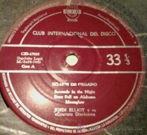 Discos de vinilo: JOHN ELLIOT Y SU CUARTETO DIATÓNICO -EP- Serenade in the night + 5 RARE SPAIN 60S - Foto 3 - 53593774