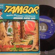 Discos de vinilo: TAMBOR DESFILE DE CUENTOS INFANTILES DE ARMANDO MATIAS GUIU -EL BOSQUE INCENDIADO. Lote 53631630