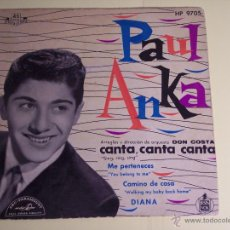 Discos de vinilo: EP PAUL ANKA (CANTA, CANTA, CANTA / ME PERTENECES + 2) HISPAVOX-1959. Lote 53633893