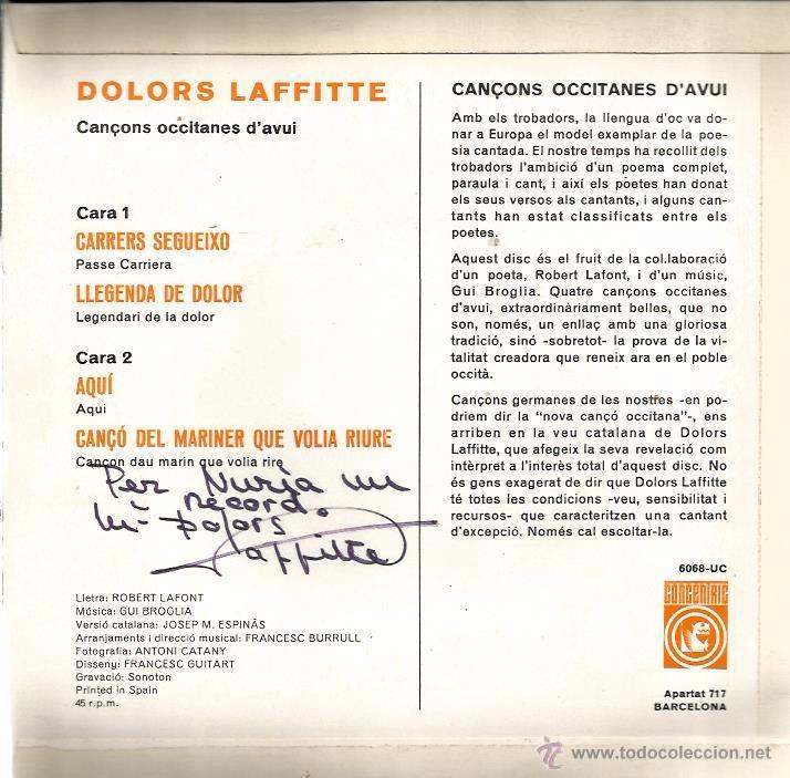 Discos de vinilo: EP DOLORS LAFFITTE : CANÇONS OCCITANES ( CONTIENE INSERTO Y DEDICATORIA DE DOLORS A NURIA ) - Foto 2 - 53636422