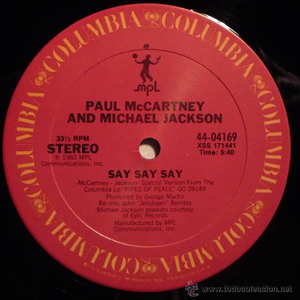 Discos de vinilo: paul mccartney & michael jackson - say say say + inedito 83 !! raro maxi ( 3 TEMAS ) org edit usa,EX - Foto 3 - 53643889