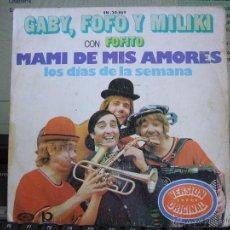 Discos de vinilo: GABY, FOFO Y MILIKI CON FOFITO - MAMI DE MIS AMORES / LOS DÍAS DE LA SEMANA - SINGLE 1974. Lote 53657934