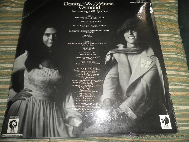 Discos de vinilo: DONNY & MARIE OSMOND - I´M LEAVING IT ALL UP TO YOU LP - ORIGINAL INGLES - MGM RECORDS 1974 - STEREO - Foto 14 - 53658661