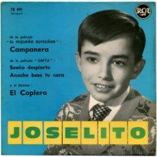 Discos de vinilo: JOSELITO - CHANSONS DU FILM EL PEQUEÑO RUISEÑOR Y SAETA - EP FRANCE - RCA 75 491. Lote 53665111
