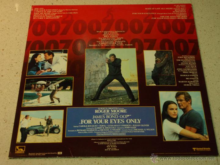 Discos de vinilo: FOR YOUR EYES ONLY JAMES BOND 007 ( VARIOS ) 1981 - HOLANDA LP33 LIBERTY - Foto 2 - 53665471