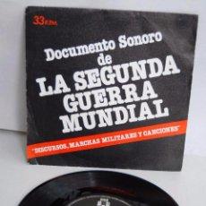 Discos de vinilo: 33 RPM DOCUMENTO SONORO DE LA SEGUNDA GUERRA MUNDIAL DISCURSOS MARCHAS MILITARES CANCIONES AÑO 1979. Lote 53685108