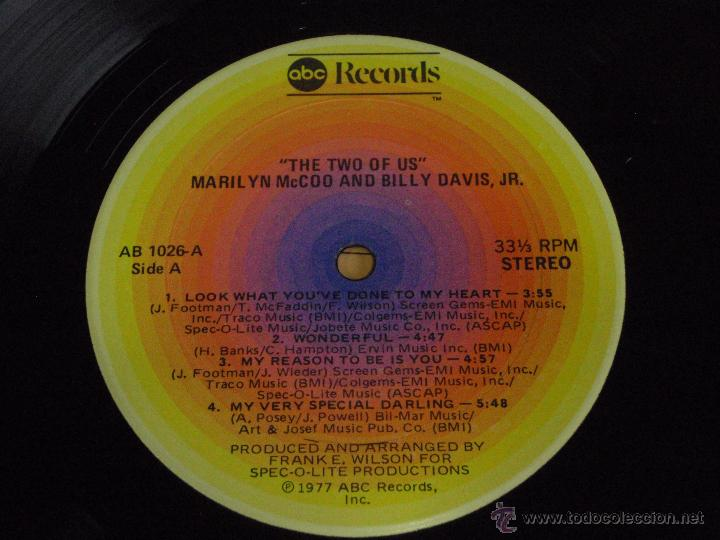 Discos de vinilo: MARILYN McCOO & BILLY DAVIS Jr. ( THE TWO OF US ) NEW YORK-USA 1977 LP33 ABC RECORDS - Foto 4 - 53708649