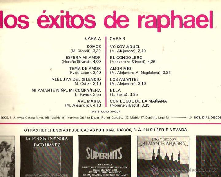 Discos de vinilo: LP THE STUDIO GROUP : LOS EXITOS DE RAPHAEL - Foto 2 - 53812963