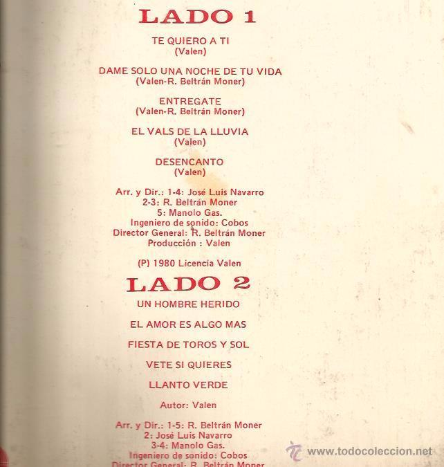 Discos de vinilo: LP VALEN - TE QUIERO A TI (EDICION ECUADOR ) ARREGLOS MANOLO GAS, J.L. NAVARRO, BELTRAN MONER - Foto 2 - 53813242