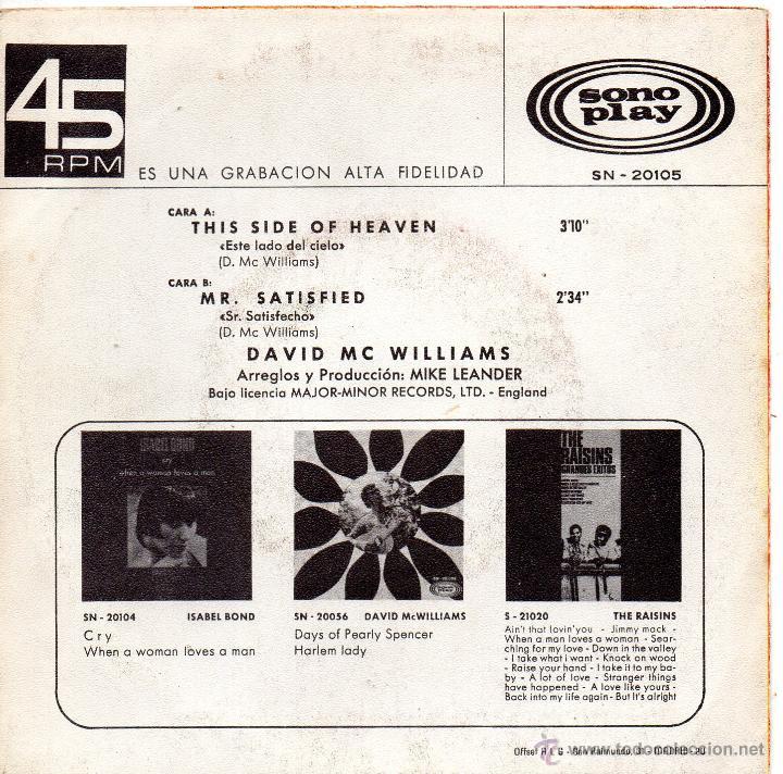 Discos de vinilo: DAVID MC WILLIAMS, SG , THIS SIDE OF HEAVEN + 1, AÑO 1968 - Foto 2 - 53820940