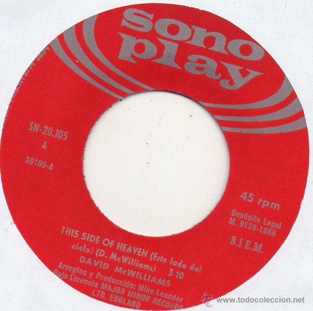 Discos de vinilo: DAVID MC WILLIAMS, SG , THIS SIDE OF HEAVEN + 1, AÑO 1968 - Foto 3 - 53820940