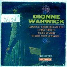 Discos de vinilo: DIONNE WARWICK / ¿CONOCES EL CAMINO HACIA SAN JOSE? / A DONDE PODRIA IR + 2 (EP 1968). Lote 53824628
