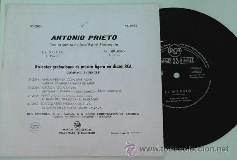 Discos de vinilo: ANTONIO PRIETO -SG- LA NOVIA + 1 RARE SPAIN 60S - Foto 2 - 53846955