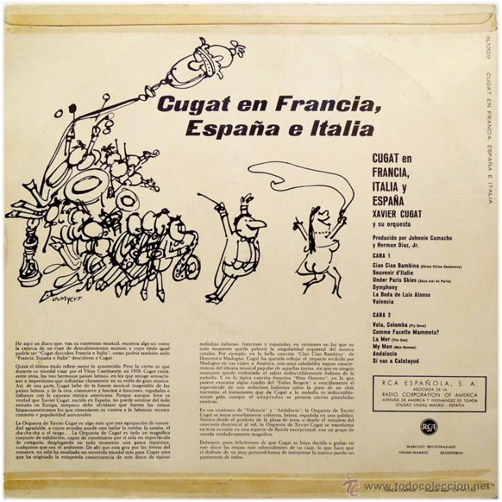 Discos de vinilo: Xavier Cugat And His Orchestra – Cugat In France, Spain & Italy - Lp Spain 1960 - RCA 3L10129 - Foto 2 - 53851195