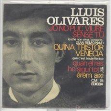 Discos de vinilo: LLUIS OLIVARES. JO NO PUV VIURE SENSE TU. ETC. EDIGSA 1965. AMB LLETRES. EP. Lote 53855226