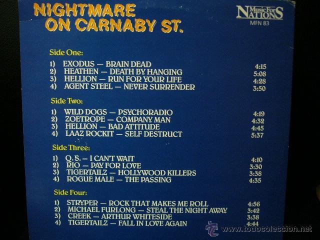 Discos de vinilo: NIGHTMARE ON CARNABY ST. 2 LP MUSIC FOR NATIONS. EXODUS.AGENT STEEL.WILD DOGS.STRYPER.TIGERTAILZ.... - Foto 2 - 53872108