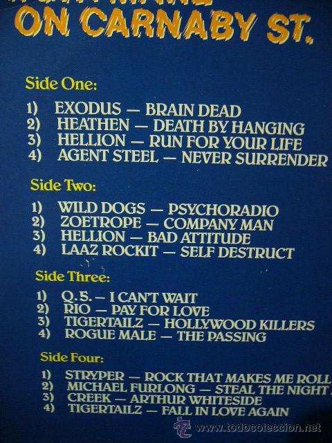 Discos de vinilo: NIGHTMARE ON CARNABY ST. 2 LP MUSIC FOR NATIONS. EXODUS.AGENT STEEL.WILD DOGS.STRYPER.TIGERTAILZ.... - Foto 5 - 53872108