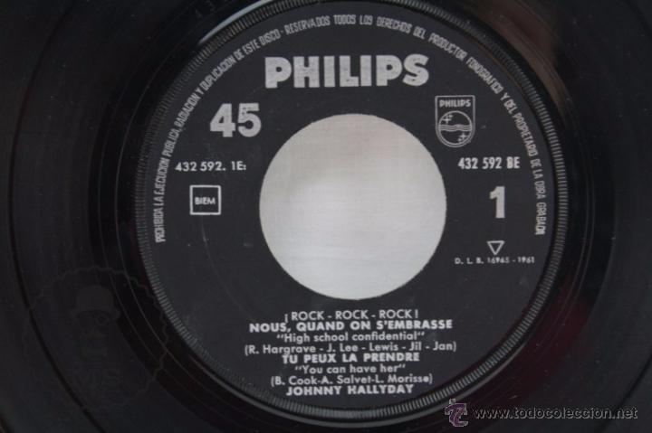 Discos de vinilo: EP Vinilo - Johnny Hallyday. Nous, Quand On SEmbrasse - Philips - España, Año 1961 - Foto 3 - 53881737
