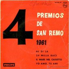 Discos de vinilo: 4 PREMIOS DE SAN REMO 1961. AL DI LA. Lote 53889414