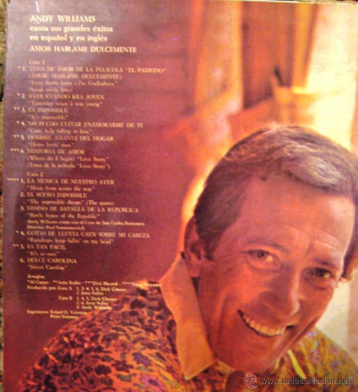 Discos de vinilo: ANDY WILLIAMS- Amor hablame dulcemente- Temas de amor. - Foto 2 - 53892210