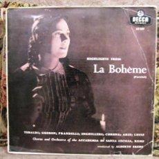Discos de vinilo: LA BOHEME- PUCCINI- RENATA TEBALDI- ORQUESTA ACADEMIA SANTA CECILIA- ROMA. Lote 53893184