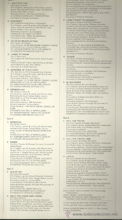 Discos de vinilo: HISTORY OF ERIC CLAPTON LP PORTADA DOBLE (2 DISCOS) SELLO POLYDOR AÑO 1972 EDITADO EN ESPAÑA - Foto 2 - 53905840