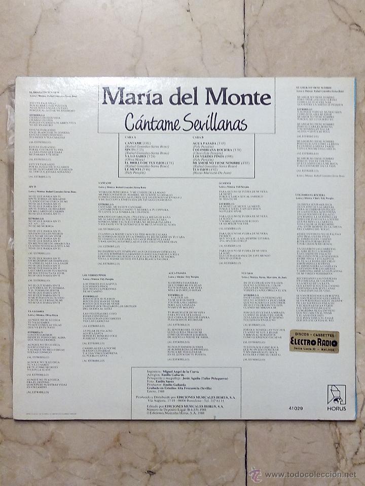 Discos de vinilo: LP MARÍA DEL MONTE - CÁNTAME SEVILLANAS - HORUS 1988. - Foto 2 - 53983059