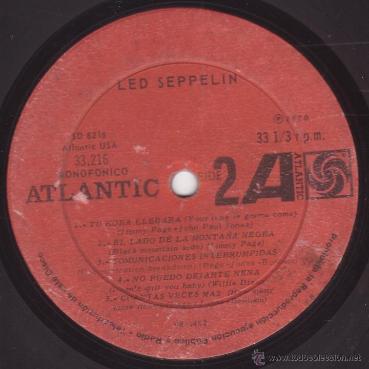 LED ZEPPELIN - LED SEPPELIN VOLUMEN I - ATLANTIC 33216 (SD-8216) - 1970 - EDICION CHILENA - MEGARARO (Música - Discos - LP Vinilo - Pop - Rock Extranjero de los 50 y 60)