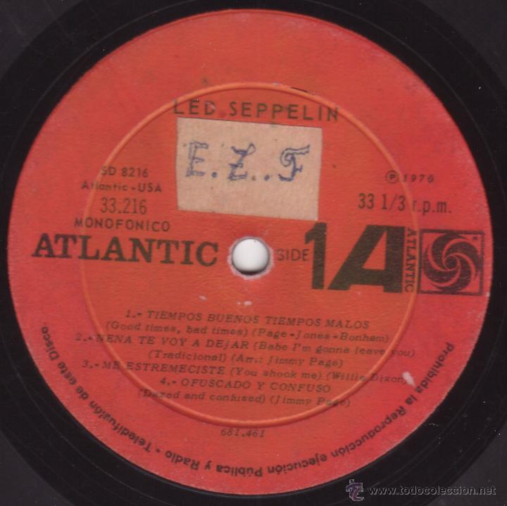 Discos de vinilo: Led Zeppelin - Led Seppelin Volumen I - Atlantic 33216 (SD-8216) - 1970 - Edicion Chilena - MegaRaro - Foto 2 - 53990788